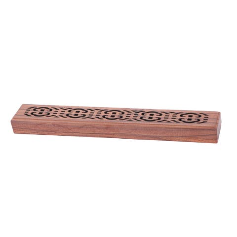 Home Cupboard Hollow Out Design Cabinet Incense Holder Organizer Box Brown