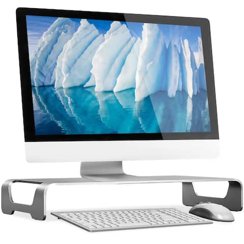 Mount-It! Aluminum Monitor and Laptop Stand Metal Desktop Riser and Organizer with Keyboard Storage - MI-107275