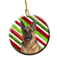Candy Cane Holiday Christmas German Shepherd Ceramic Ornament