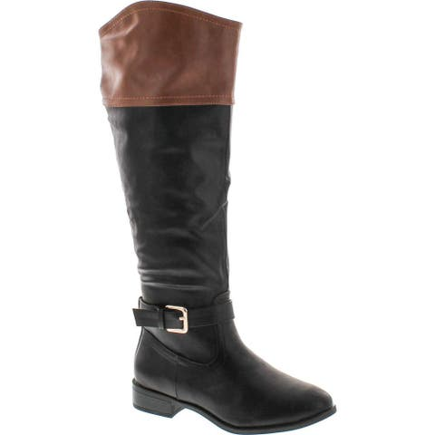 Bamboo Womens Asiana-76 Medallion Two Tone Riding Boots - Chestnut/Black