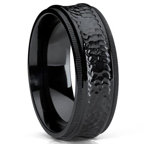 Oliveti 8MM Black Hammered Titanium Wedding Band Ring with Milgrain Edges, Comfort Fit