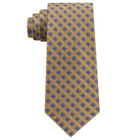 Club Room Mens Diamond Dot Self-tied Necktie, yellow, One Size - One Size
