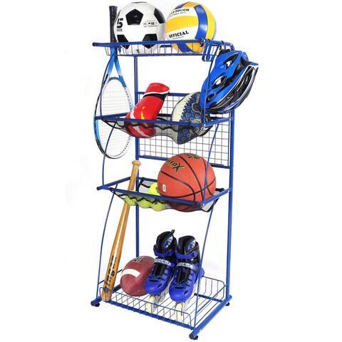 Mythinglogic Sports Equipment Garage Organizer 4 Shelf Shelving Steel Organizer with Rack