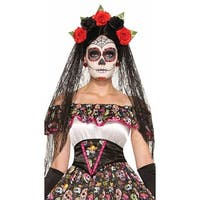 Day Of The Dead Black Veil Headdress, Gothic Headdress - One Size Fits most