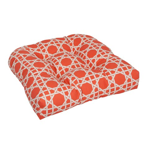Blazing Needles 19-inch U-Shaped Polyester Outdoor Tufted Dining Chair Cushion