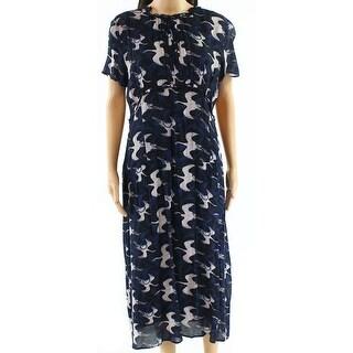 Hinge Black White Womens Small Bird-Print Shift Dress