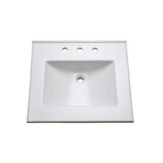 "Mirabelle MIRT25228 25"" Vitreous China Vanity Top with Three Faucet Holes"