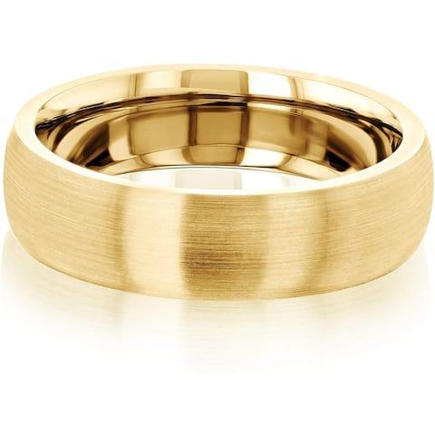 Annello by Kobelli 14K Gold 6MM Domed Satin Matte Gold