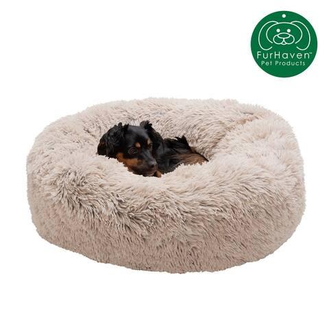 FurHaven Pet Calming Cuddler Long Fur Donut Dog Bed