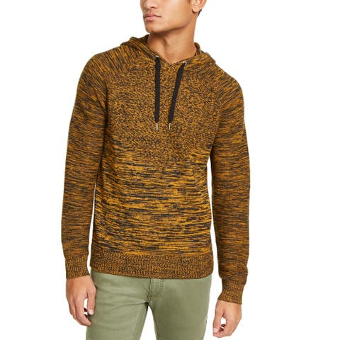 INC Mens Sweater Black Yellow Size XS Monster Rib Knit Marled Hooded