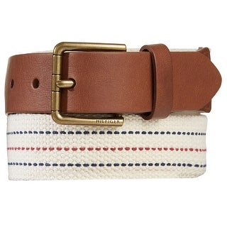 Tommy Hilfiger Mens Brown Leather Tab Fabric Belt Off White 42 - Off White
