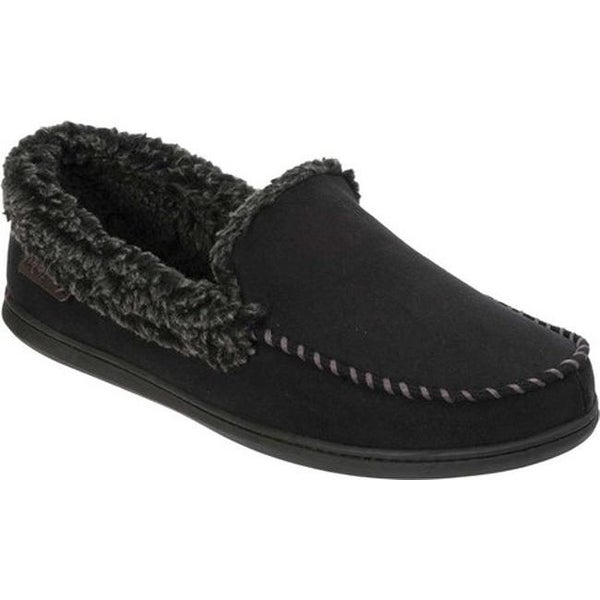 f6a654c6538 Shop Dearfoams Men s MFS Moccasin Slipper with Whipstitch Black ...