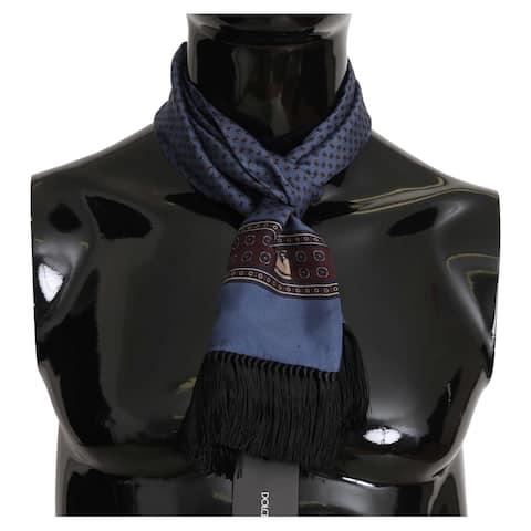 Dolce & Gabbana Blue Baroque Tassel Mens Silk Men's Scarf - one-size