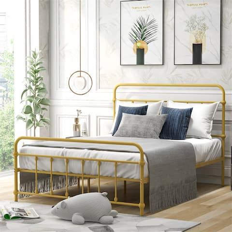 Full Size Metal Platform Bed with Headboard and Footboard,Yellow