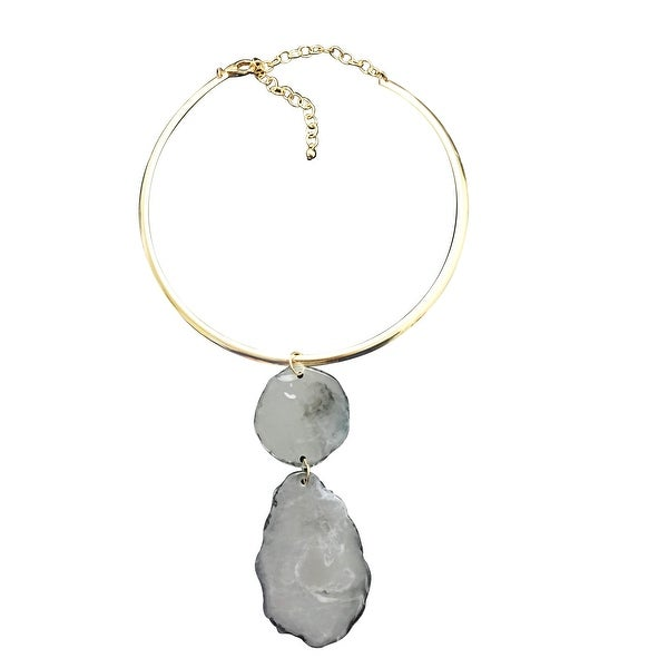 max & MO Gold Choker with Mineral Look Pendant