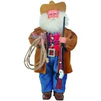 "15"" Cowboy Santa Claus with Hat and Duster Coat Christmas Table Top Figure - brown"