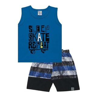 Toddler Boy Outfit Graphic Tank Top and Shorts Set Pulla Bulla Sizes 1-3 Years (Option: royal blue / 1 year - 12 - 18 Months)