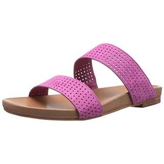 Johnston & Murphy Womens Jodi Suede Perforated Flat Sandals