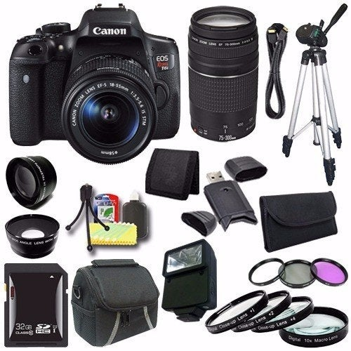 Canon EOS Rebel T6i DSLR Camera with EF-S 18-55mm f/3.5-5.6 IS STM Lens 0591C003 + EF 75-300mm Lens Saver Bundle