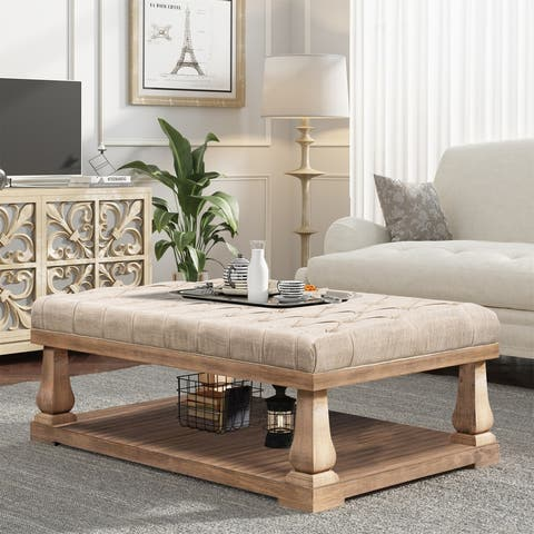 [Pre Sale]Coffee table with Wood Shelf,Bed End Bench with Padded Seat