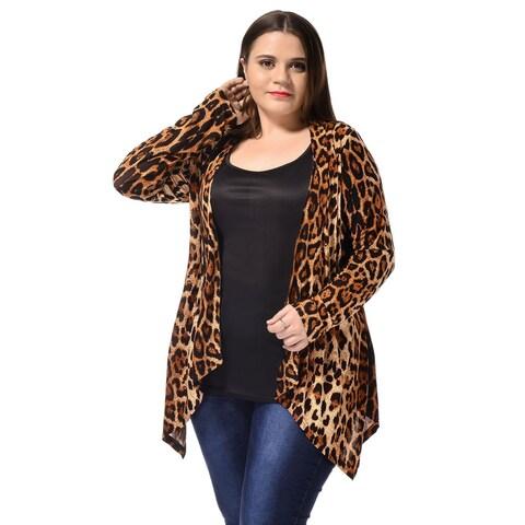 Allegra K Women's Plus Size Long Sleeves Spring Leopard Print Cardigan - Beige
