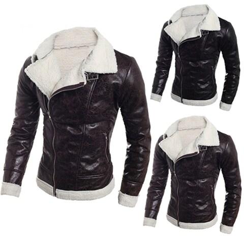 Cool Men Faux Leather Fur Liner Winter Warm Zipper Casual Jacket Coat Outerwear