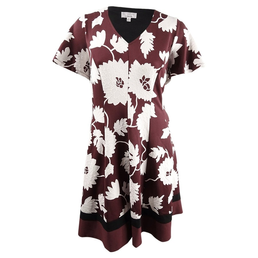 Robbie Bee Womens Plus Size Puffed-Print Fit & Flare Dress - Wine/Ivory