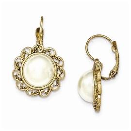 Goldtone Simulated Pearl Leverback Earrings