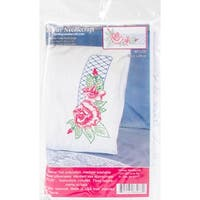 "Stamped Perle Edge Pillowcases 30""X20"" 2/Pkg-Rose Lattice"