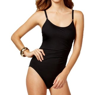 Calvin Klein Womens Ruched Pintuck One-Piece Swimsuit - 6