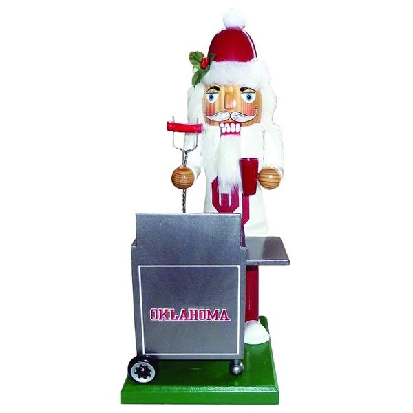 "12"" NCAA University of Oklahoma Sooners Tailgating Wooden Christmas Nutcracker"