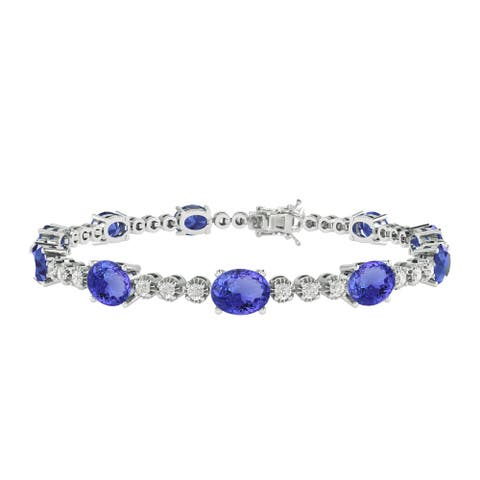 """Sterling Silver with Tanzanite and White Topaz Tennis Bracelet-7.25"""""""