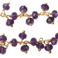 Vermeil Gold Wire Wrapped Dangle Chain, 3.5mm Glass Rondelles, 1 Inch, Purple