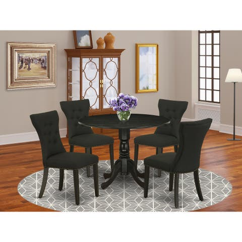 Dining Set Included a Table and 4 Parson Chairs with Linen Fabric Seat (Color Option Available)