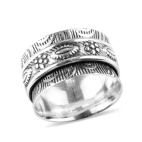 Shop LC 925 Sterling Silver White Spinner Statement Band Ring