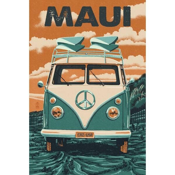 Maui, Hawaii - Camper Van - Letterpress - Lantern Press Artwork (Art Print  - Multiple Sizes Available) - 9 x 12 Art Print