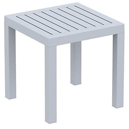 Ocean Square Side Table, Silver