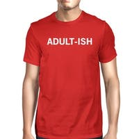 Adult-ish Man Red T-shirts Funny Graphic Printed Short Sleeve Tee