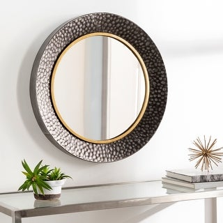 """Link to Twee Hammered Mixed Metal 24-inch Round Mirror - 24""""H x 24""""W Similar Items in Mirrors"""