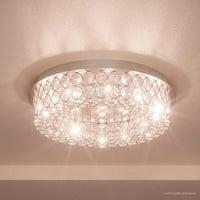 "Luxury Crystal Flush Mount LED Ceiling Light, 4""H x 15.5""W, with Modern Style, Polished Chrome Finish"