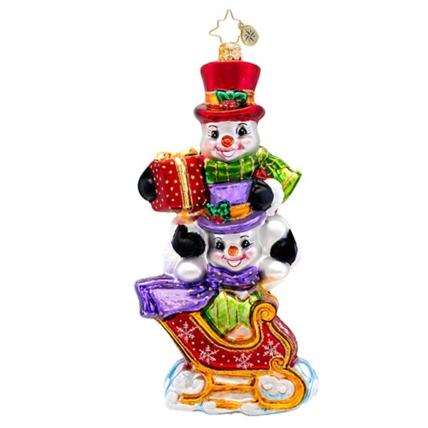 Christopher Radko Glass Snowman Dashing Through the Snow Christmas Ornament #1017319 - multi