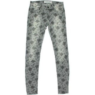 Etienne Marcel Womens Floral Print Stretch Colored Skinny Jeans