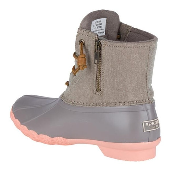 Saltwater Duck Boot Taupe/Coral Textile