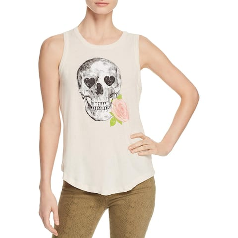 Chaser Womens Skulls Tank Top Graphic Cotton - Ivory