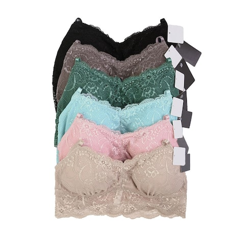 47b1fd5b001a Unibasic Women Lace Solid Nylon Bralette With Removable Pad - 6 Pack