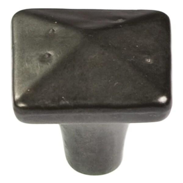 "Hickory Hardware P3670 Carbonite 1-1/4"" Square Cabinet Knob - Black Iron"