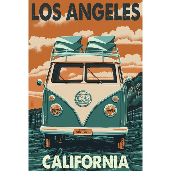 Los Angeles, CA - VW Van - LP Artwork (100% Cotton Towel Absorbent)