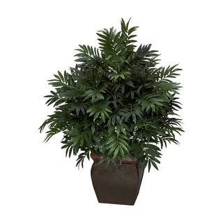 Nearly Natural Triple Bamboo Palm with Decorative Planter - Silk Plant Green