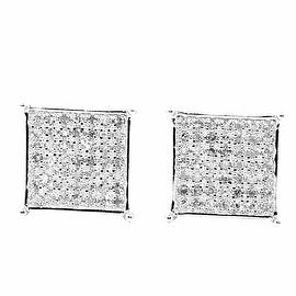 Mens Wide Earrings 1/4cttw Diamonds Pave Set Square Princess Shaped Screw back 10mm Wide(0.25 cttw)