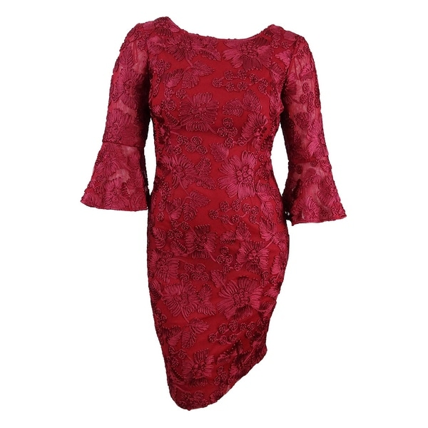 Alex Evenings Women\'s Plus Size Embroidered Bell-Sleeve Dress (14W,  Cranberry) - Cranberry - 14W